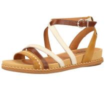 Sandalen gelb / weiß / kastanienbraun