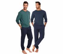 Herren Pyjamas lang marine / petrol