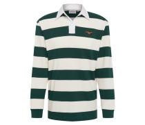 Shirt 'l/s Roslyn' dunkelgrün / weiß