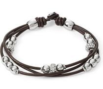 3-rhg. Armband dunkelbraun / silber