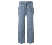 Jeanshosen Culotte mit Bundfalte blau