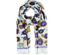 Modal Schal blau / gelb / weiß