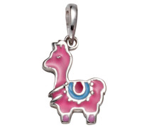 Kettenanhänger 'Lama' blau / pink / silber