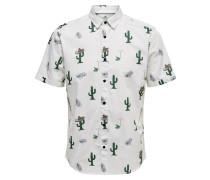 Kurzarmhemd grün / weiß