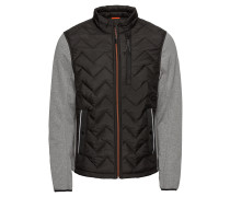 Jacke 'hybrid jacket' grau / schwarz