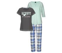 Dreiteiliges Pyjamaset blau / grau / mint