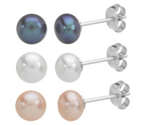 3 Paar Perlohrstecker silber