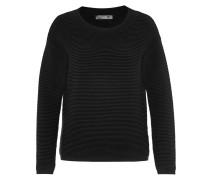 Pullover mit markanter Querrippe schwarz