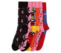 Socken hellpink / rot / schwarz