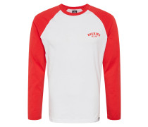 Shirt 'Baseball' rot / weiß
