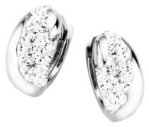 Paar Creolen mit Kristallstein silber