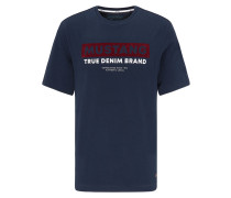 T-Shirt dunkelblau / weinrot / weiß