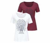 T-Shirt bordeaux / weiß