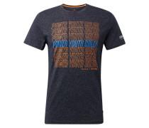 T-Shirt navy / royalblau / orange