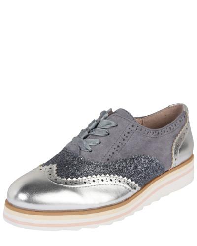 Schnürschuhe 'Classy' grau / silber