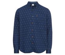 Hemd 'LS Indigo Spot Print Shirt' blau