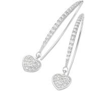 Paar Ohrhaken mit Zirkonia 'Herz' silber