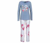 Dreams Pyjama klassisch gestreift mit Blumenprint