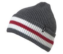 Strickmütze graumeliert / rot / weiß