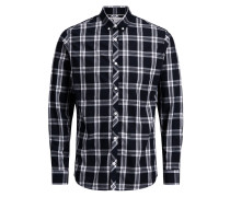 Button-down Langarmhemd dunkelblau