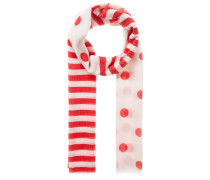 Schal mit Streifen und Punkten rot / weiß