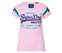Shirt 'Shop Varsity' blau / grün / rosa