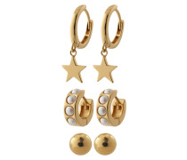 Ohrringe 'Chunky pearl and star ear party'