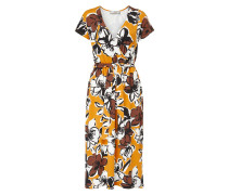 Kleid braun / safran / schwarz / weiß