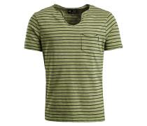 Shirt ' Tadg ' grünmeliert / schwarz