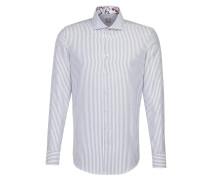 Hemd taubenblau / weiß