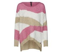 Pullover camel / rosé / weiß