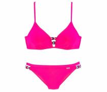 Bügel-Bikini mit buntem Flechtdetail pink