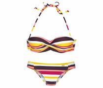 Bikini gelb / dunkellila / pink / weiß