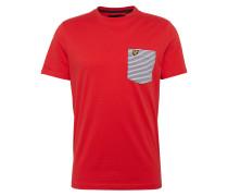 T-Shirt 'Stripe Pocket' rot