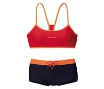 Bustier-Bikini schwarz / orange / rot