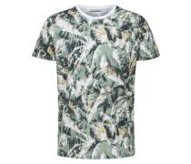T-Shirt grünmeliert / weiß