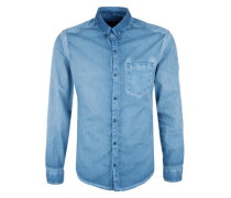 Slim Fit: Hemd in Cold Pigment Dye blue denim