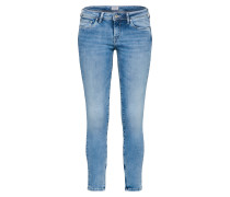 'Cher' Schmale Jeans mit Ankle-Zipper