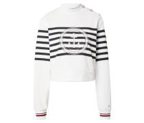 Sweatshirt weiß / blau