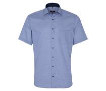Kurzarmhemd 'modern Fit' blau / weiß