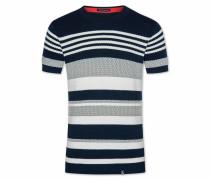 T-Shirt 'Milow' nachtblau / weiß