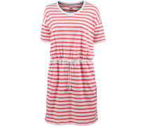 Kleid in Streifenoptik koralle / weiß