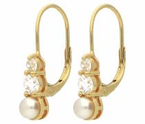 Paar Ohrhaken gold / perlweiß