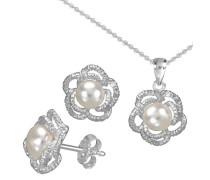 Ohrstecker und Halskette mit Perle (4tlg.)