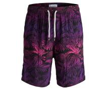 Shorts dunkellila / pink / schwarz