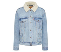 Jacke 'Ex-Bf Sherpa Trucker' blue denim
