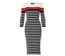 Midi-Strickkleid rot / schwarz / weiß