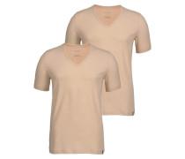 T-Shirt mit V-Neck (2 Stück) beige