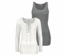 Langarmshirt grau / schwarz / offwhite