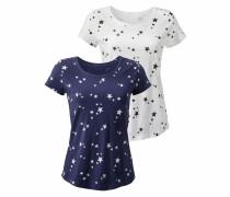 T-Shirt (2 Stück) marine / schwarz / weiß